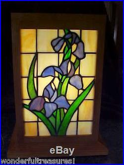1 ONLY! GENUINE HM STAINED GLASS Lamp Irises ALL 4 SIDES & WOOD Frame Case FAB