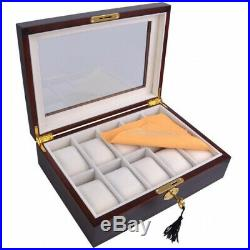 (10 Ebony Wood) Brand New Luxury Watches Case Top Glass Wood Wristwatch