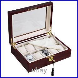 10 Watch Organizer Display Case Walnut Wood Glass Top Jewelry Box Storage Gift