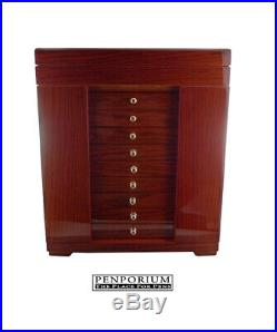 100 Writing Instrument Storage Case, Wood With Glass Top Display Brown