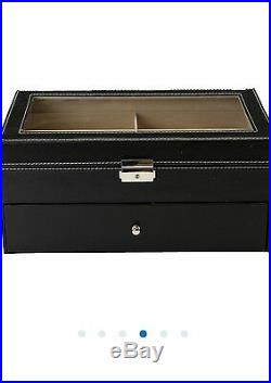12 Black Oversized Wood Sunglass Display Case Eyeglass Glasses Organizer Storage