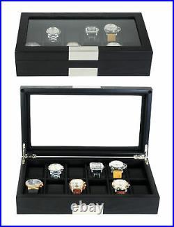 12 Black Wood Watch Box Display Case Jewelry Organizer Glass Top Stainless