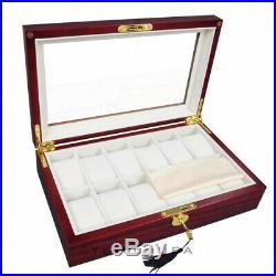(12 Cherry Wood) Brand New Luxury Watches Case Top Glass Wood Wristwatch