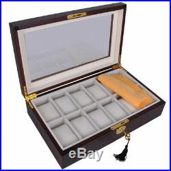 (12 Ebony Wood) Brand New Luxury Watches Case Top Glass Wood Wristwatch