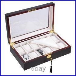12 Ebony Wood Glass Top Watch Display Case Jewelry Box Collector Storage Gift
