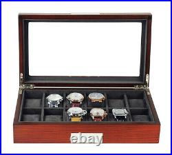 12 Slot Watch Storage Display Chest Box Case Mahogany Wood Glass Top Cabinet