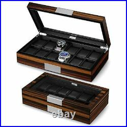 12 Watch Box for Men Watch Display Case Wood Luxury Watch Box with Large Glass
