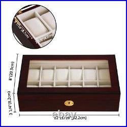 12 Watch Organizer Display Case Walnut Wood Glass Top Jewelry Box Storage Gift