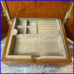 18 Slot Watch Display Case Burl Wood Laminate Glass Top Jewelry Box With 4 Drawers