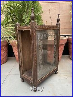1800's Ancient Wood Inlaid Floral Glass Side Door Wall Fixing Box Case Rare Old
