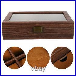 1pc Dustproof Multifunction Watch Glasses Case Wood Jewelry Case Wood Watch Case