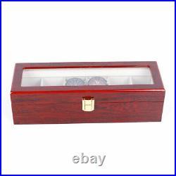 2/3/5/6 Slots Red Watch Box Display Case Organizer Wood Glass Storage Box Solid