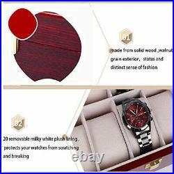 20 Slots Wood Watch Case Display Storage Watch Box Glass Top Jewelry Watch