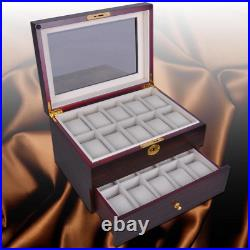20 Slots Wooden Watch Display Case Glass Top Jewelry Collection Storage Box Wood