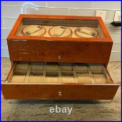 21 Slot Watch Display Case Burl Wood Laminate Glass Top Jewelry Box 3 Winders
