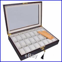 (24 Ebony Wood) Brand New Luxury Watches Case Top Glass Wood Wristwatch