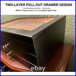 34 Piece Wood Pen Display Box Glass Pen Display Case Storage Fountain Pen