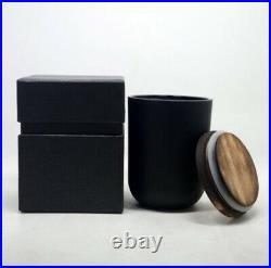 (40ct) Case 11 oz. Matte Black, Glass Candle Vessel with Wood Lid/ Rubber Gasket