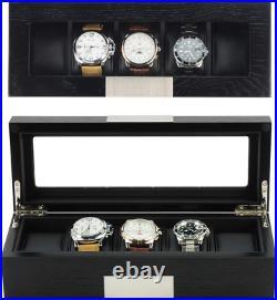 5 Ebony Wood Watch Box Display Case Storage Jewelry Organizer with Glass Top New