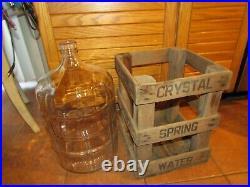 5 Gallon Crystal Spring Water Beer Wine Glass Water Bottle Jug in Wood Case