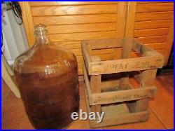 5 Gallon Great Bear Spring Co Water Beer Wine Glass Bottle Jug in Wood Case