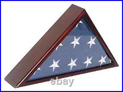 5X9.5 Burial/Funeral Flag Display Case Shadow Box, Solid Wood, Glass Front