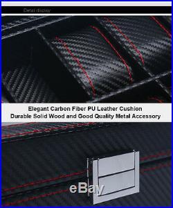 6 10 12 Slots Black Carbon Fiber Wood Glass Watch Display Storage Box Case Gift