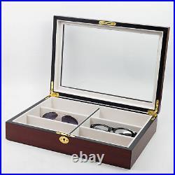 6 Cherry Wood Eyeglass Sunglass Oversized Glasses Storage Display Case Organizer