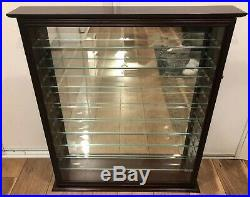 9 Glass Shelves Knick Knack Curio Wood Display Table Top or Wall Case Mahogany