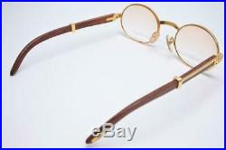 90's Rare CARTIER Wood Flame Sunglass Eyeglass 140b Pre-owned withCase Excellent