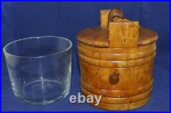 ANTIQUE BOX Russian case Karelian Birch wood Maple cap Art Nouveau glass vtg old