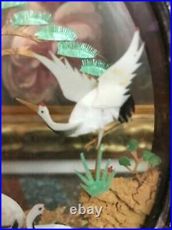 Antique Chinese Wood Carved Cork & Paper Artwork Diorama Glass Case Cranes