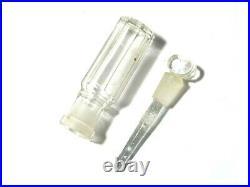 Antique Glass Scent Perfume Bottle inside Lighthouse Shaped Wood Case Box 8cm