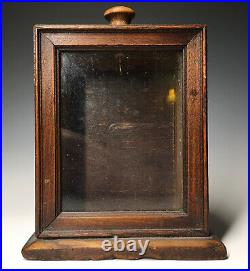 Antique Hand Carved 19th C. Wood & Glass Pocket Watch Display Box Holder Case