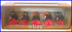 Antique Japanese Miniature Wig Display with Wood & Glass Case P1613