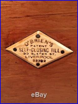 Antique O'Briens Self Closing Till Wood Glass and Brass Case Liverpool England
