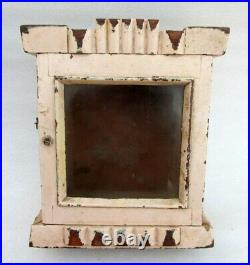 Antique Old Rare Fine Hand Carved Wood Painted Glass Fitted Show Case Clock Box
