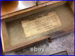 Antique Pharmaceutical or Science Scale in Wood Glass Case Henry Troemner w Wgts