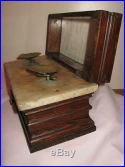 Antique Pharmacy Weight Scales, Wood & Marble Case, Hinged Glass Top Nice