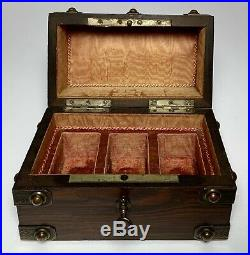 Antique SCENT Perfume BOTTLE CASE BOX WOOD COPPER BOUND 19th Century