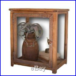 Antique Style 18 in Tall Glass Door Wood Frame Tabletop Display Case Terrarium