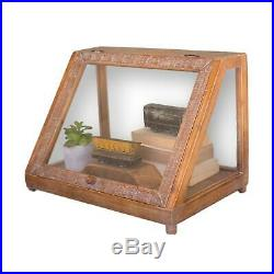 Antique Style Wood Glass Slant Front Tabletop Display Case Terrarium Collectible