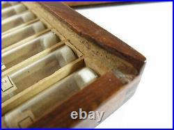 Antique Swartchild & Company Wood Watch Parts Storage Case38 Corked Glass Vials
