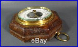 Antique VTG German Lufft Wall Barometer Beveled Edge Glass Octagonal Wood Case
