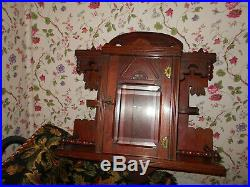 Antique Victorian Beveled Glass Curio Display Case Wall Shelf CabinetExquisite