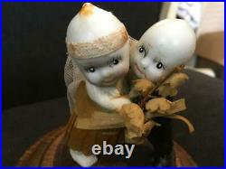 Antique Wedding Couple Kewpie Dolls On Stand In Glass & Wood Case Rose ONeill
