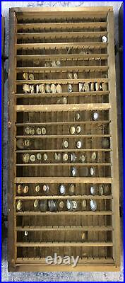 Antique Wood Five Drawer Case with 1000 +/- Glass Pocket Watch Crystal Parts