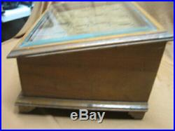 Antique Wood General Store Counter Display Case Box For Watches Beveled Glass