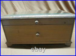 Antique Wood General Store Counter Display Case Box Mercantile Beveled Glass