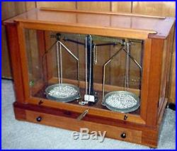 Antique Wood & Glass Case Balance Beam Scale Brass Beam Locking Lever